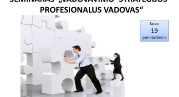 VADOVAVIMO STRATEGIJOS - PROFESIONALUS VADOVAS