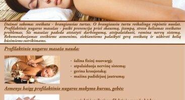 Profilaktinio nugaros masažo mokymo kursai