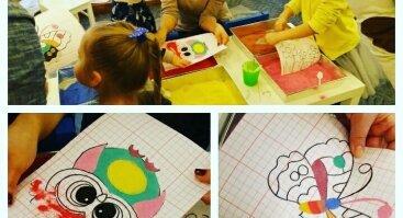 Tapyba spalvotu SMĖLIU (Vaikams)