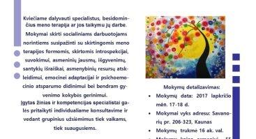 """Mokymai """"Meno terapijos metodų taikymas socialiniame darbe"""""""