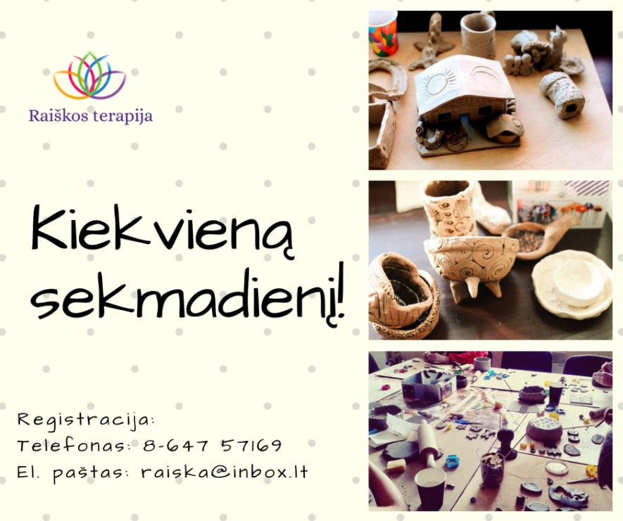 """Keramikos dirbtuvėlės """"Molio kalba"""" visai šeimai!"""
