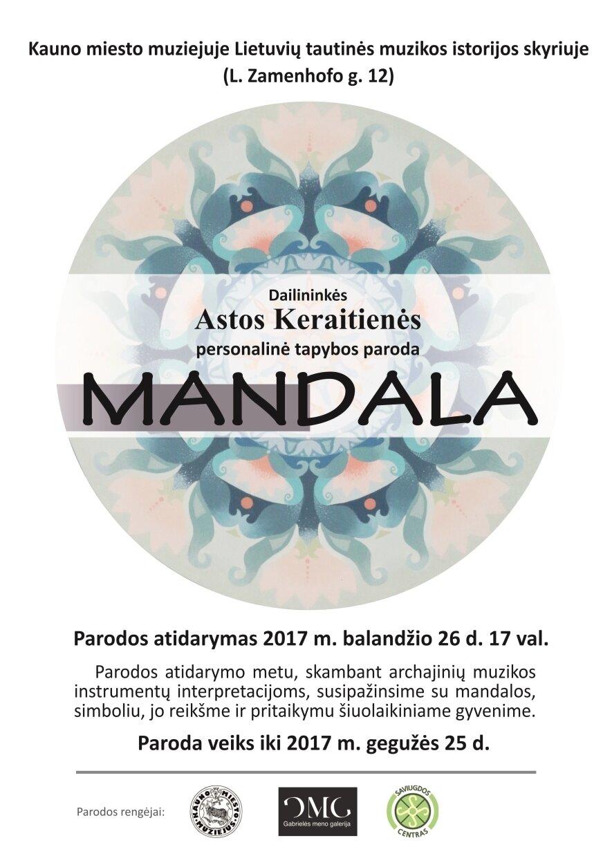 """Dailininkės Astos Keraitienės tapybos darbų paroda """"Mandala"""""""