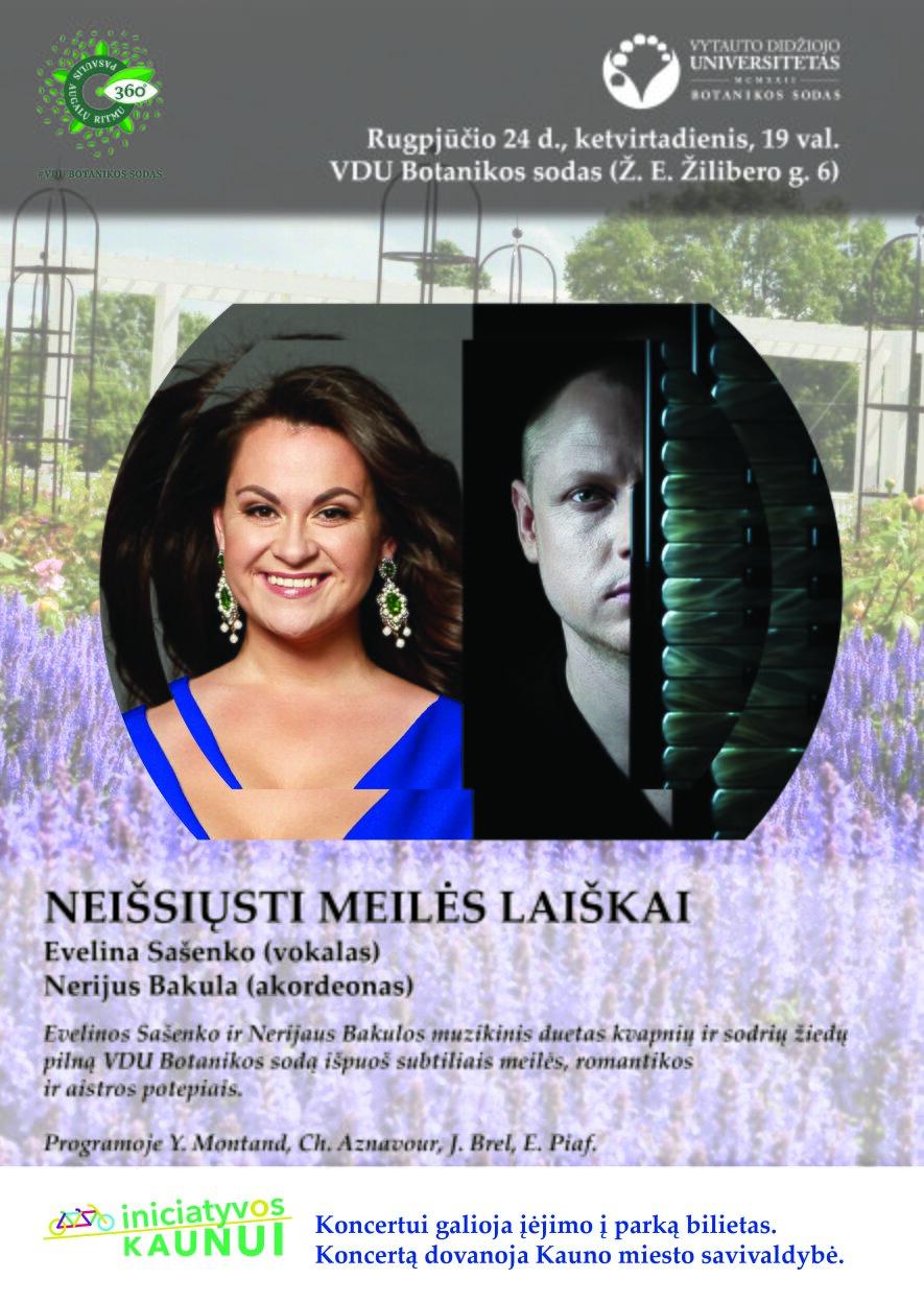 """Evelinos Sašenko ir Nerijaus Bakulos koncertas """"Neišsiųsti meilės laiškai"""""""