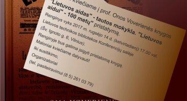 """Prof. Onos Voverienės knygos """"Lietuvos aidas"""" - tautos mokykla. """"Lietuvos aidui"""" - 100 metų"""" pristatymas"""