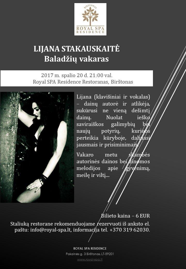 Baladžių vakaras - koncertuoja Lijana Stakauskaitė