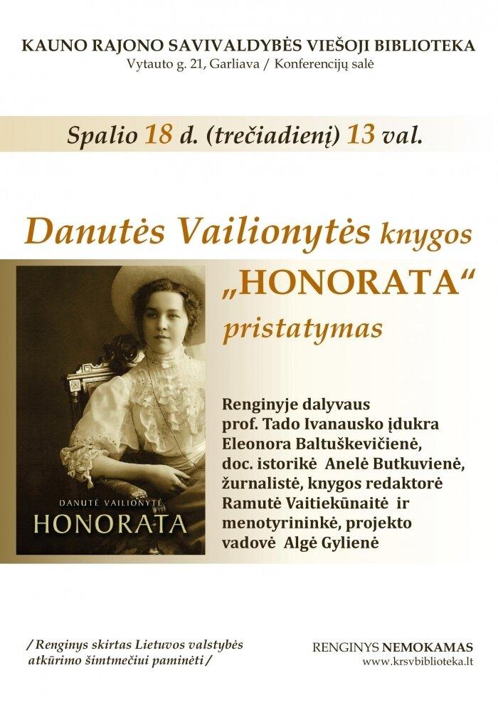 """Danutės Vailionytės knygos """"Honorata"""" pristatymas"""