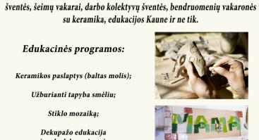 Keramikos lipdymo dirbtuvės (Suaugusiųjų grupė)