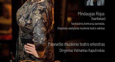 """Solistės Laimos Česlauskaitės rečitalis """"Tokia esu"""" su Panevėžio muzikinio teatro orkestru ir solistu Mindaugu Rojumi"""