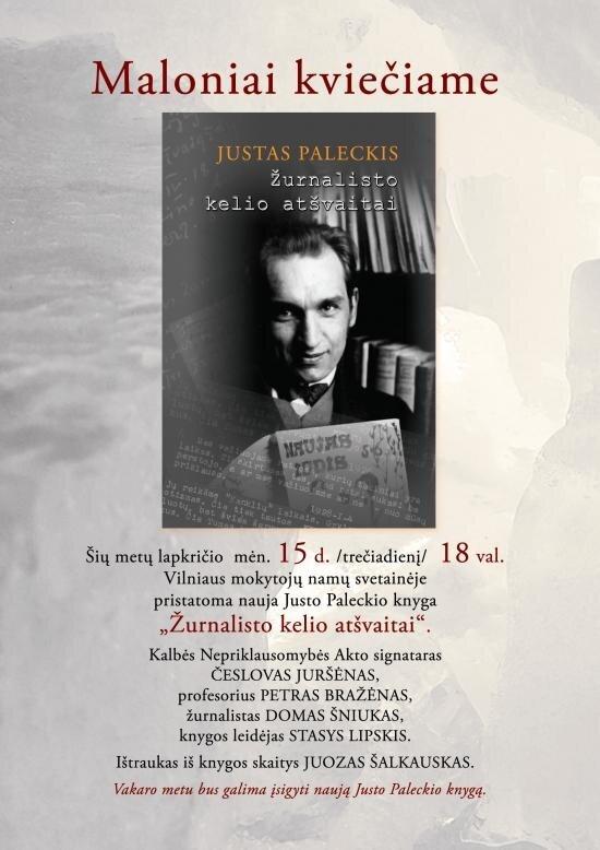 """Justo Paleckio knygos """"Žurnalisto kelio atšvaitai"""" pristatymas"""