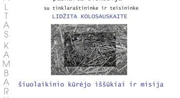 """""""ŠIUOLAIKINIO KŪRĖJO IŠŠŪKIAI IR MISIJA"""": PASKAITA-DISKUSIJA SU LIDŽITA KOLOSAUSKAITE"""