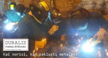 """Atviros """"Duralio metalo dirbtuvės"""". MIG / MAG pradžiamokslis."""