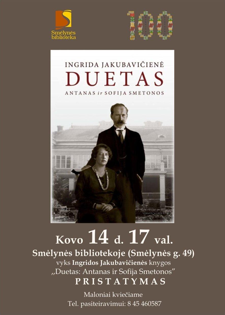 """Knygos """"Duetas: Antanas ir Sofija Smetonos"""" pristatymas"""