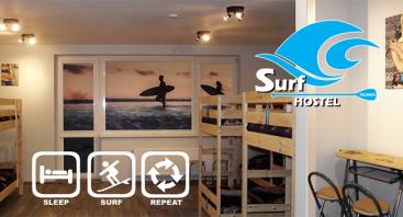 1d. Nakvynė Surf Hostelyje su irklenčių pramogomis