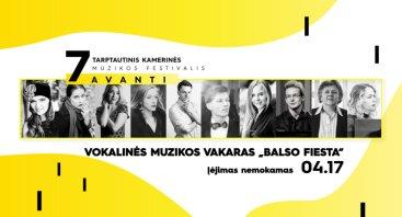 """7-ojo tarptautinio kamerinės muzikos festivalio AVANTI koncertas: Vokalinės muzikos vakaras """"Balso fiesta"""""""