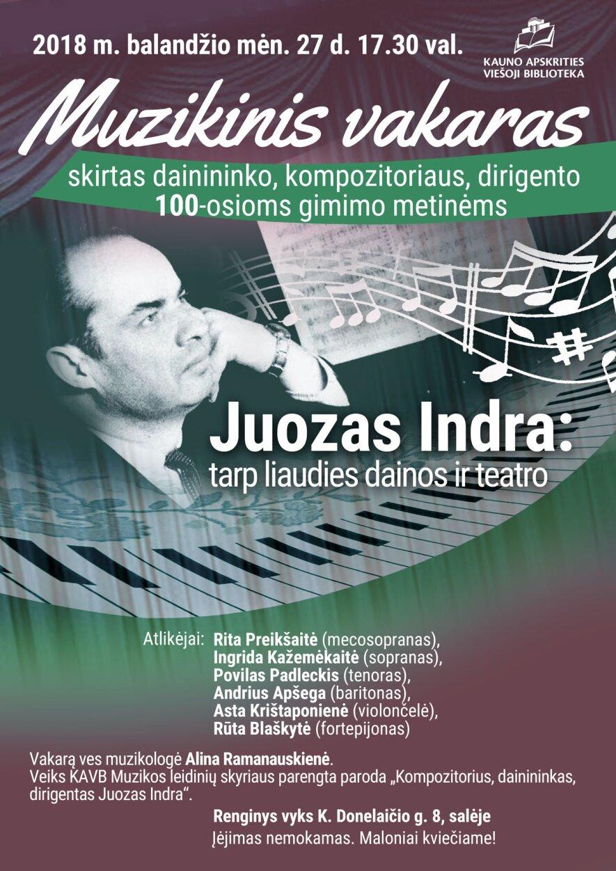"""Juozas Indra """"Tarp liaudies dainos ir teatro"""""""