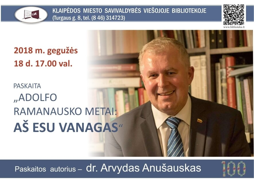 """Paskaita """"Adolfo Ramanausko metai: Aš esu Vanagas"""""""