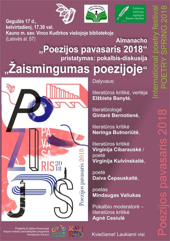 """""""Poezijos pavasario 2018"""" almanacho pristatymas"""