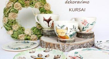 Kursai - puodelio ir lėkštelės dekoravimas
