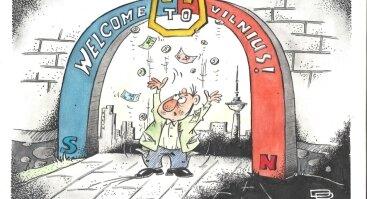 """VILNIAUS KARIKATŪRŲ PARODA-KONKURSAS """"WELCOME TO VILNIUS. GIVE US YOUR MONEY!"""""""