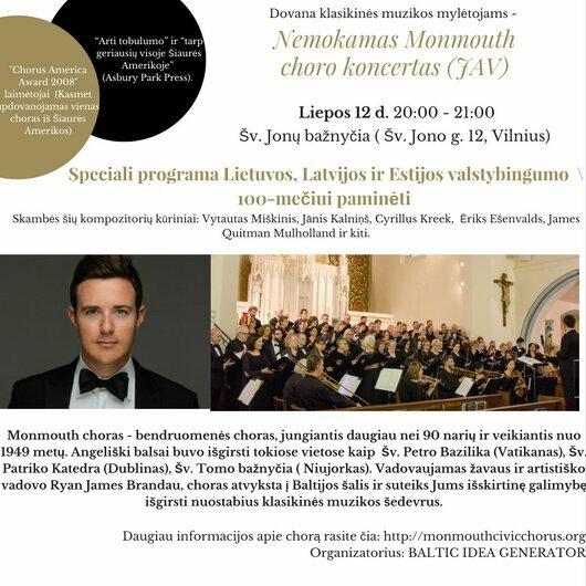Nemokamas Monmouth choro (JAV) koncertas Vilniuje