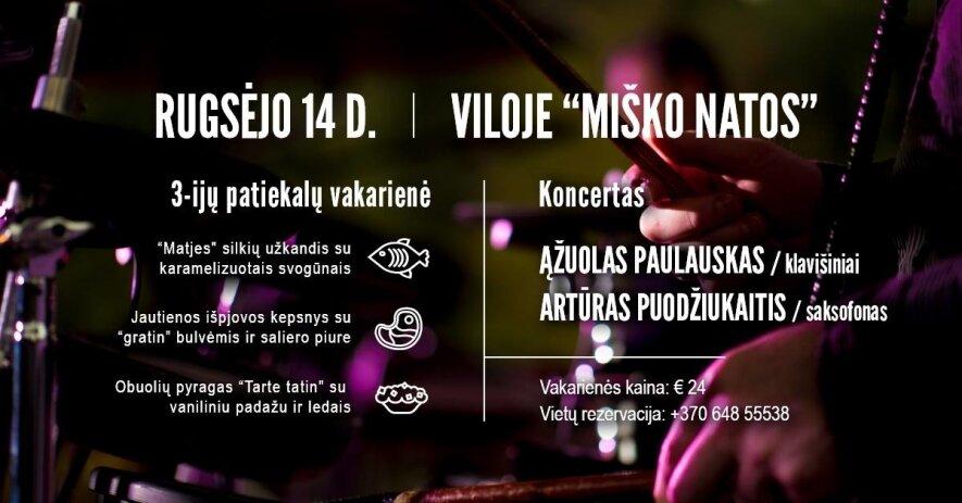 Instrumentalistų Ąžuolo Paulausko (klavišiniai) ir Artūro Puodžiukaičio (saksofonas) koncertas.