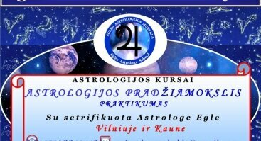 ASTROLOGIJOS PRADŽIAMOKSLIS. PRAKTIKUMAS - 12 paskaitų kursas Vilniuje
