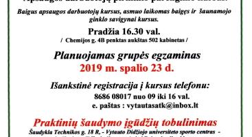 Apsaugos darbuotojų pirminio parengimo kursai 2019 10 14