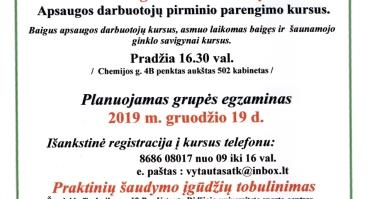 Apsaugos darbuotojų pirminio parengimo kursai 2019 12 09