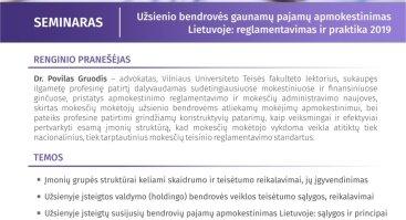 Užsienio bendrovės gaunamų pajamų apmokestinimas Lietuvoje: reglamentavimas ir praktika 2019 m.