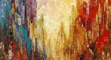 """Diena su tapyba """"Didmiesčio panorama"""" Didelis formatas 50 x 70"""