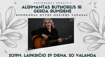 Nemokamas muzikinis vakaras su Algimantu Butnoriumi ir Gerda Rumšiene