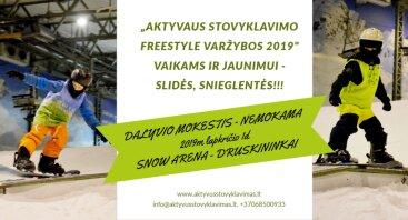 """""""Aktyvaus stovyklavimo Freestyle varžybos 2019"""" vaikams ir jaunimui - slidės. snieglentės"""