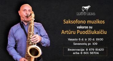Skonių ir muzikos vakaras su saksofonistu Artūru Puodžiukaičiu | MŪŪ BBQ