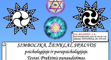SIMBOLIKA, ŽENKLAI, SPALVOS psichologijoje ir parapsichologijoje. Testai. Praktinis panaudojimas.