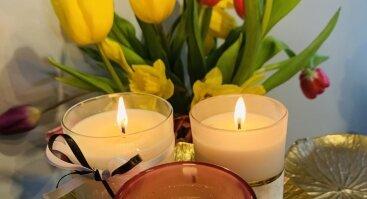 Aromaterapinės sojų vaško žvakės liejimas