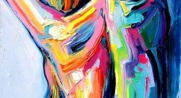 """Diena su tapyba. """"Įvairiaspalvė moteris"""" Formatas 50x70"""