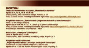 """XXXV tarptautinis folkloro festivalis """"Atataria lamzdžiai"""" (l etapas).  Mokymai"""