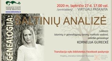 """Virtuali paskaita """"Genealogija: šaltinių analizė"""""""