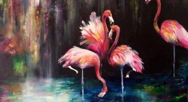 """Video tapybos pamoka """"Flamingai"""". Tapykite namuose, Jums patogiu laiku!"""