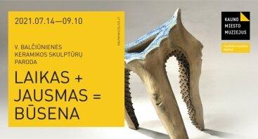 "V. Balčiūnienės keramikos skulptūrų paroda ""Laikas + Jausmas = Būsena"""
